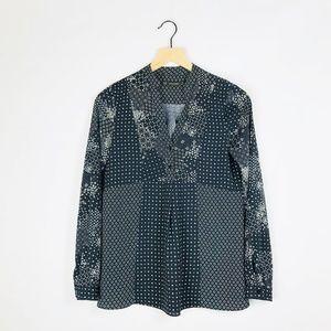 zara navy and white multi print blouse